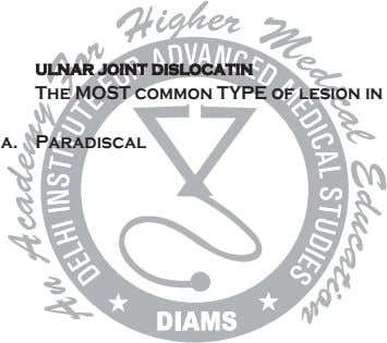 ulnar joint dislocatin The MOST common TYPE of lesion in a. Paradiscal