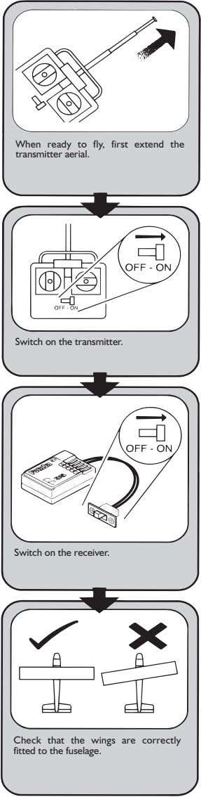 When ready to fly, first extend the transmitter aerial. Switch on the transmitter. Switch on