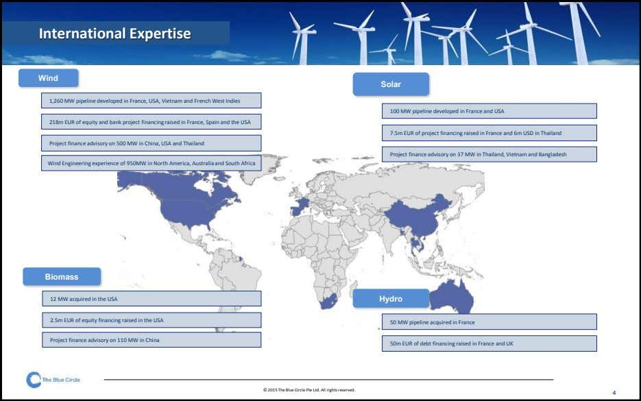 International Expertise Wind Solar 1,260 MW pipeline developed in France, USA, Vietnam and French West