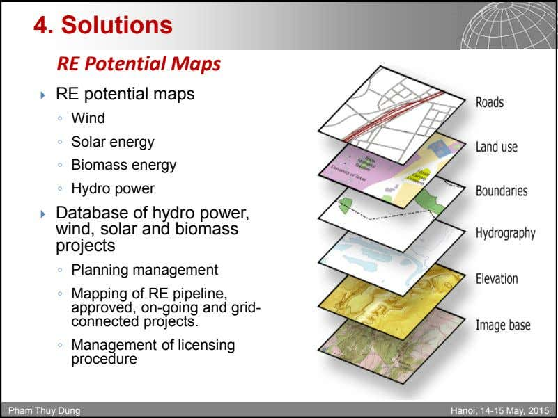 4. Solutions RE Potential Maps  RE potential maps ◦ Wind ◦ Solar energy ◦
