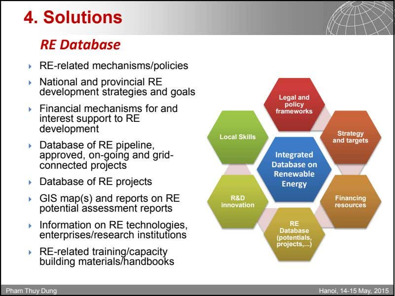 4. Solutions RE Database  RE-related mechanisms/policies  National and provincial RE development strategies and