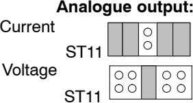 Analogue output: Current ST11 Voltage ST11