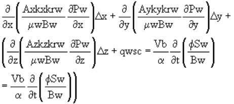 Oil flow equation (fo): (3.29) Water flow equation (fw): (3.30) In Equations 3.29 and 3.30, there
