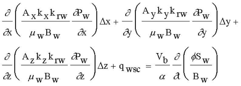 Oil flow equation (fo): (3.41) Water flow equation (fw): (3.42) Gas flow equation (fg) (ignoring the