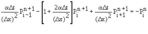 difference scheme to Equation 4.12: . By collecting < (4.16) When we write Equation 4.16 for