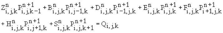 start with the flow equation in its finite difference form: We then write this equation for