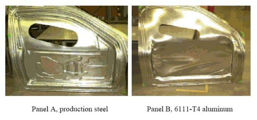 which are larger than those in conventional stamping [6]. Figure 2.16 Automotive inner-door pa nels, forming