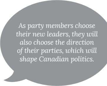 As party members choose also choose the direction shape Canadian politics.