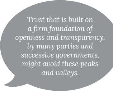 Trust that is built on openness and transparency, by many parties and successive governments, might