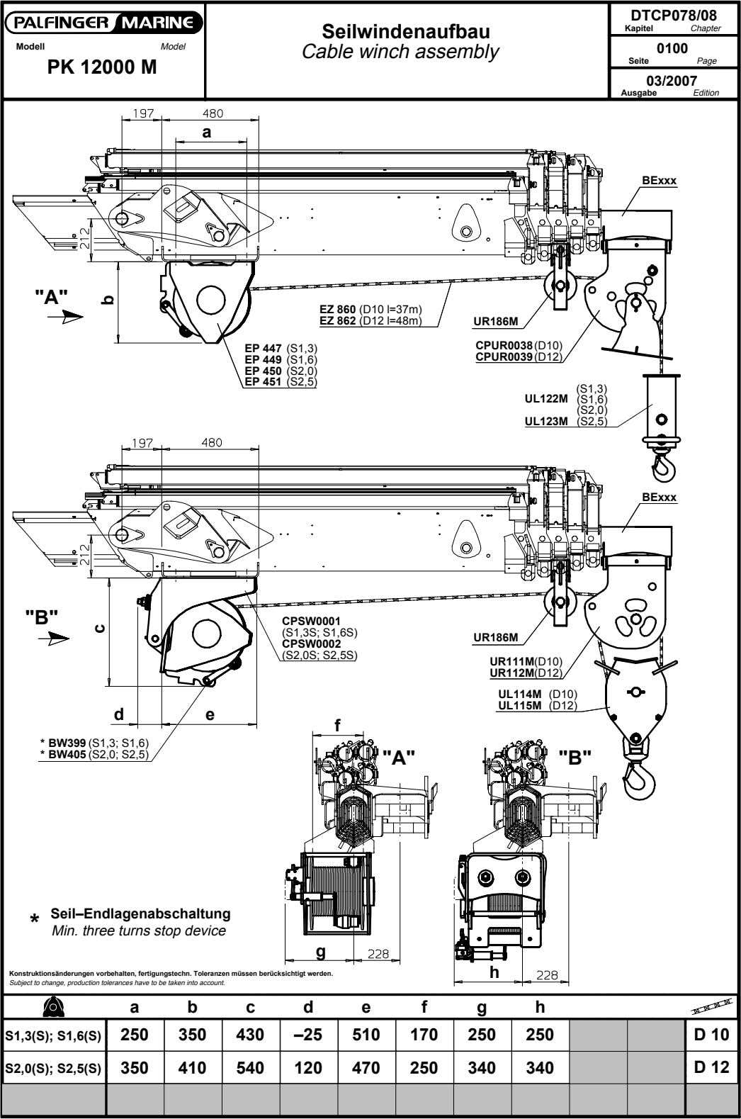 DTCP078/08 Seilwindenaufbau Kapitel Chapter Modell Model Cable winch assembly 0100 Seite Page PK 12000 M