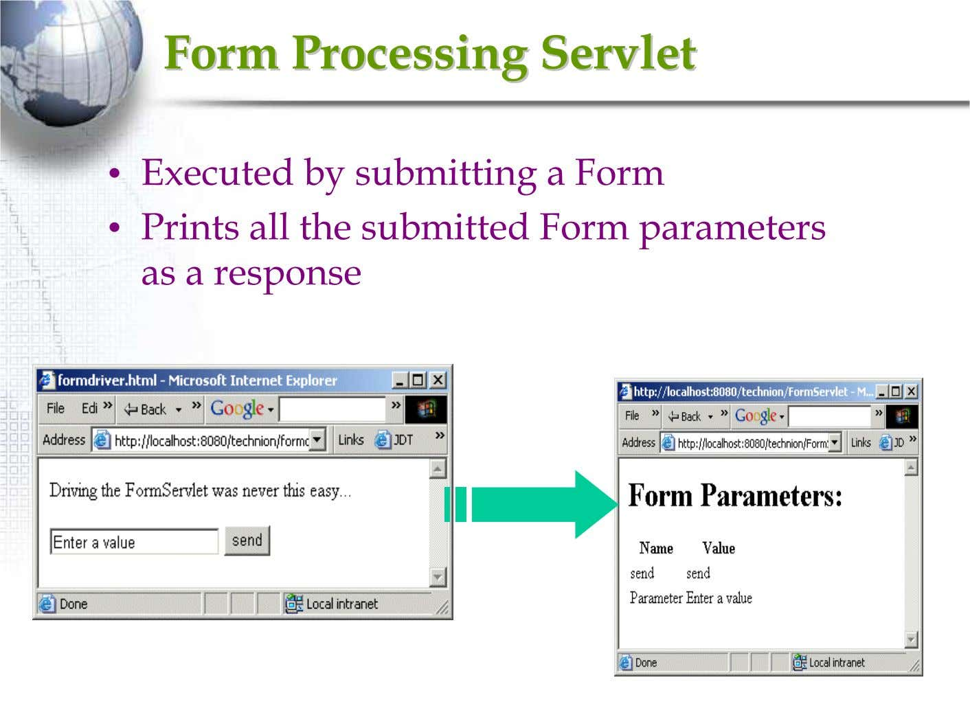 FormForm ProcessingProcessing ServletServlet • Executed by submitting a Form • Prints all the submitted Form