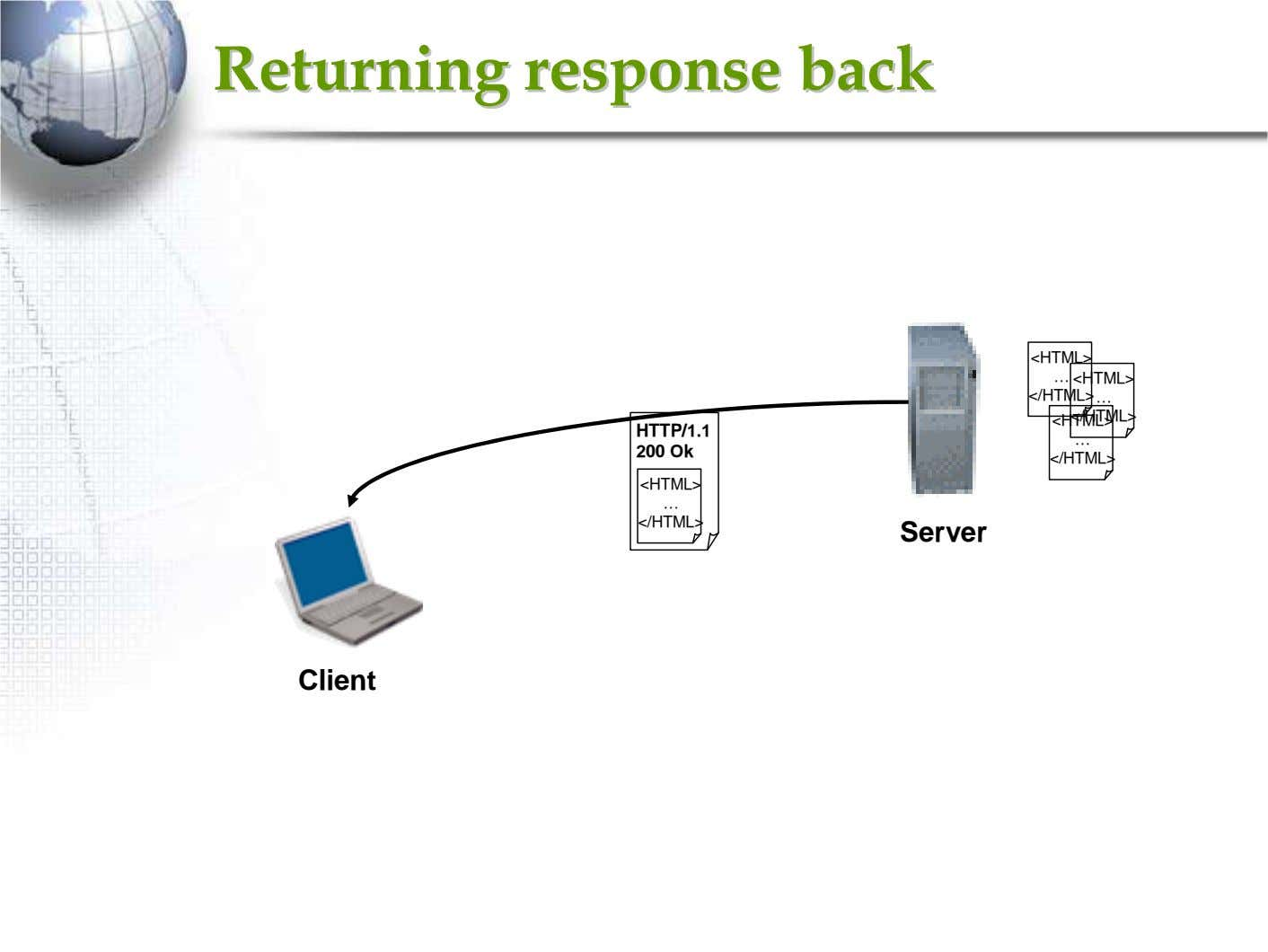 ReturningReturning responseresponse backback <HTML> … <HTML> </HTML> … <HTML>