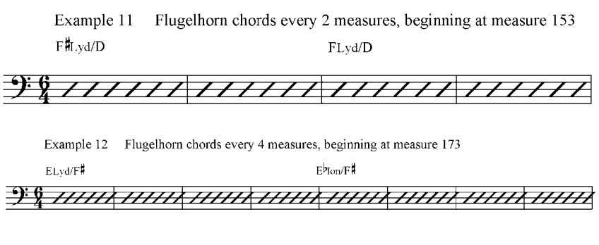 in bars of 6, as in example 11. As the backgrounds drop out, the harmonic rhythm