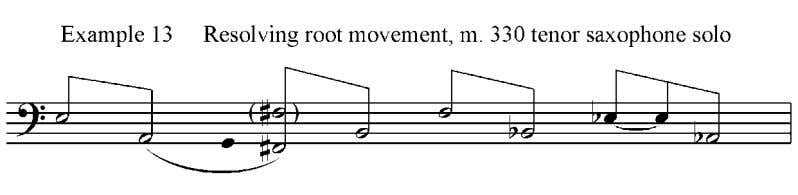 measure 330 and in example 13. Smaller resolutions occur throughout the solo. The first chord, Esus,
