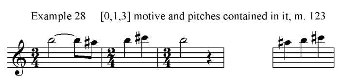example 28. The [0,2,7] motive appears in measure 137, shown in exampe 29, as the melody