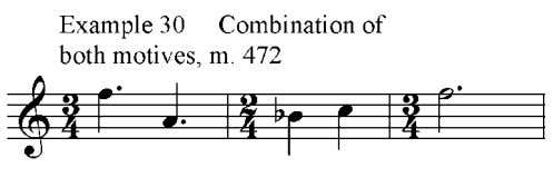 30 and 31, in measure 472. With the combination of the two motives, the melody now