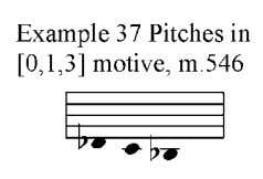 (see example 37) with octave displacement from measure 29. The tenor saxophone solo alternates with an