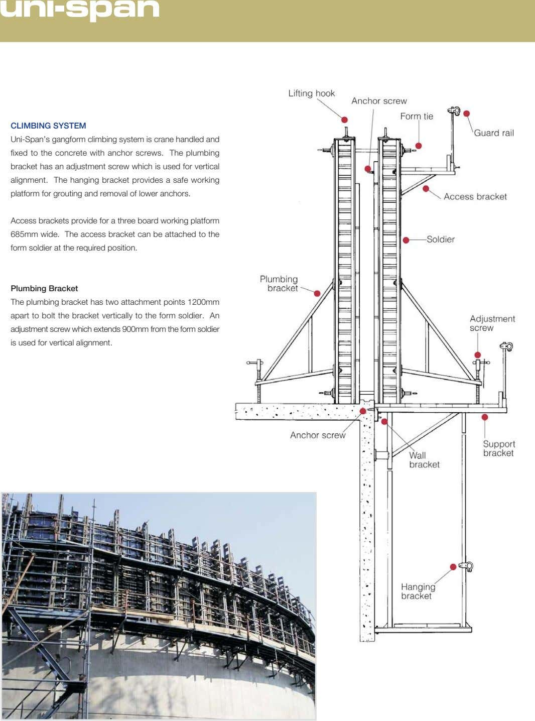 CLIMBING SYSTEM Uni-Span's gangform climbing system is crane handled and fixed to the concrete with