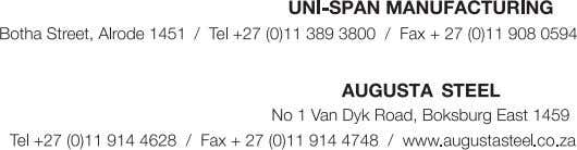 of Companies and Branches. / E-mail: sales@uni-span.co.za / E-mail: manufacturing@uni-span.co.za / E-mail: