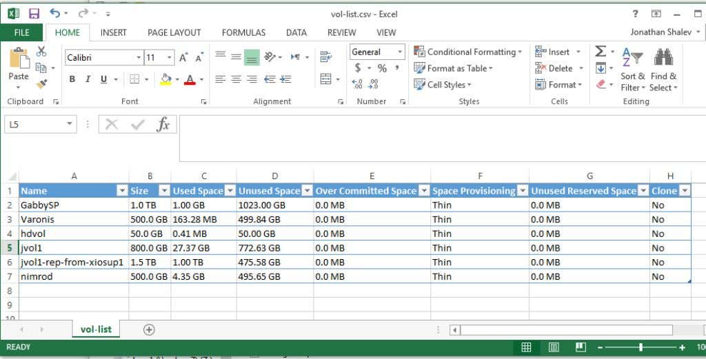 command's output into a CSV file and opening it in Excel produces the following: 13 FluidFS