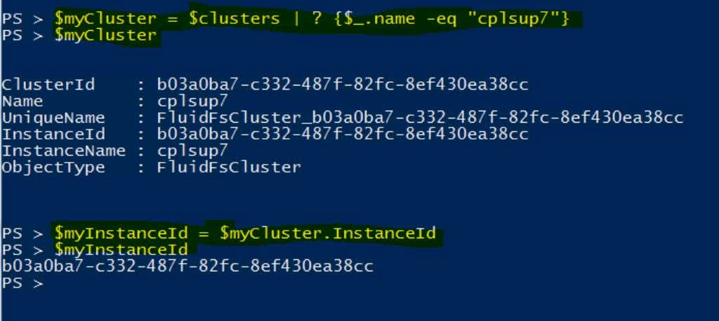 getting the InstanceId of the cluster called cplsup7: Now that we have the InstanceId for the