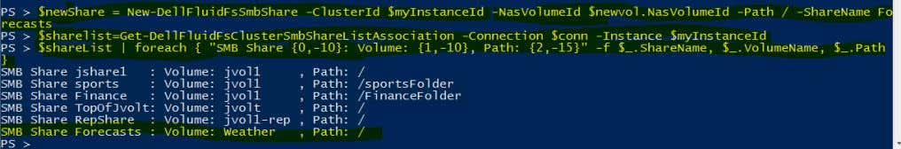 rwe repeat the list-shares command and see the new share. This concludes the PowerShell examples –
