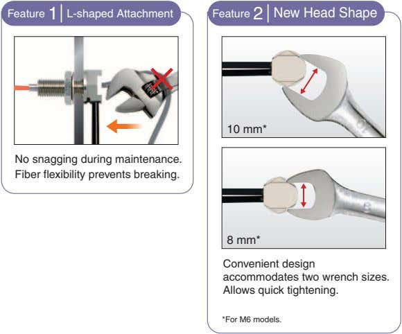 Feature 1 L-shaped Attachment Feature 2 New Head Shape 10 mm* No snagging during maintenance.