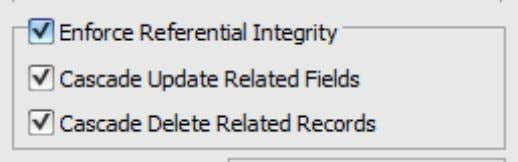 tables: All relations will be created ENFORCING REFERENTIAL INTEGRITY , with CASCADE UPDATES AND DELETIONS .
