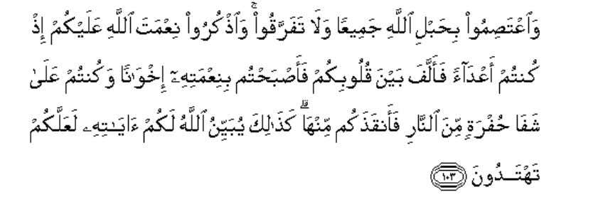 104. And hold fast to the rope of Allah all together and do not divide,