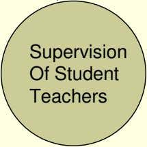 Supervision Of Student Teachers