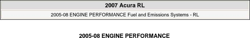 2007 Acura RL 2007 Acura RL 2005-08 ENGINE PERFORMANCE Fuel and Emissions Systems - RL 2005-08