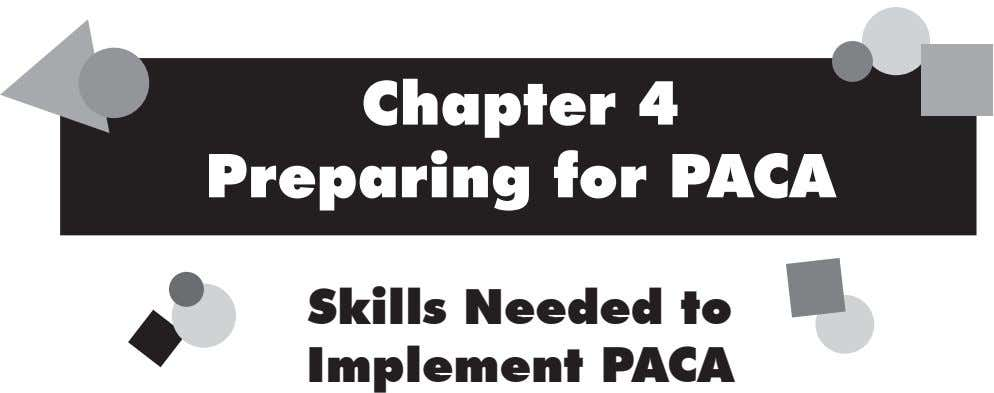 Chapter 4 Preparing for PACA Skills Needed to Implement PACA