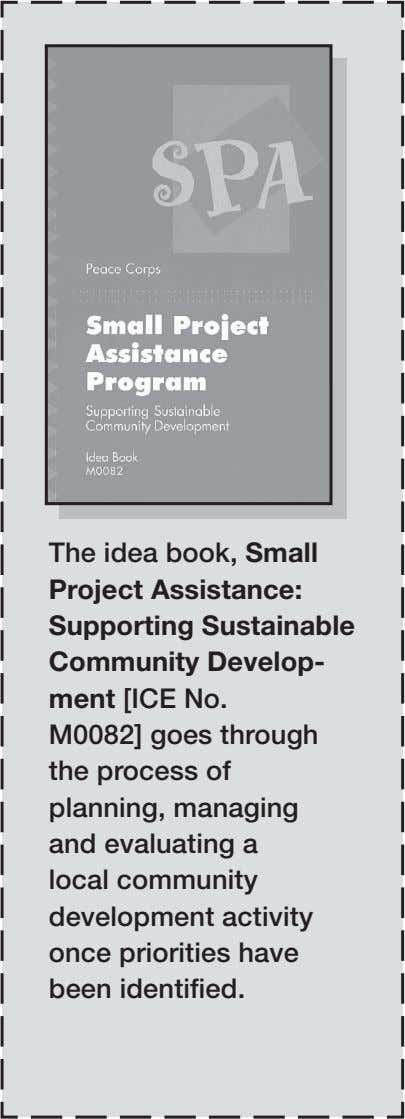 The idea book, Small Project Assistance: Supporting Sustainable Community Develop­ ment [ICE No. M0082] goes
