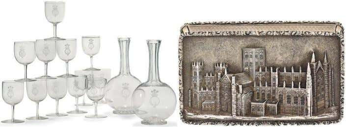 collections, which have been acquired over generations. A pair of Edwardian glass decanters, together with twelve