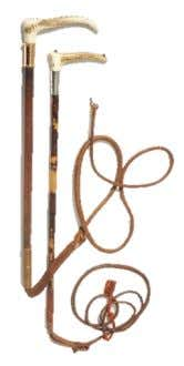 1840, depicting York Minster Estimate: £1,800-2,200 Two George V hunting whips with horn handles, one 15