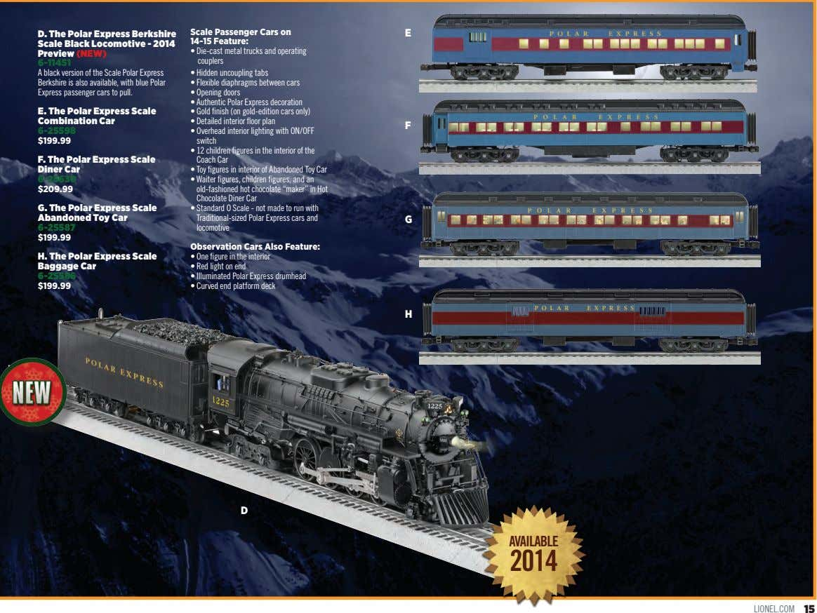 D. The Polar Express Berkshire Scale Passenger Cars on 14-15 Feature: E Scale Black Locomotive