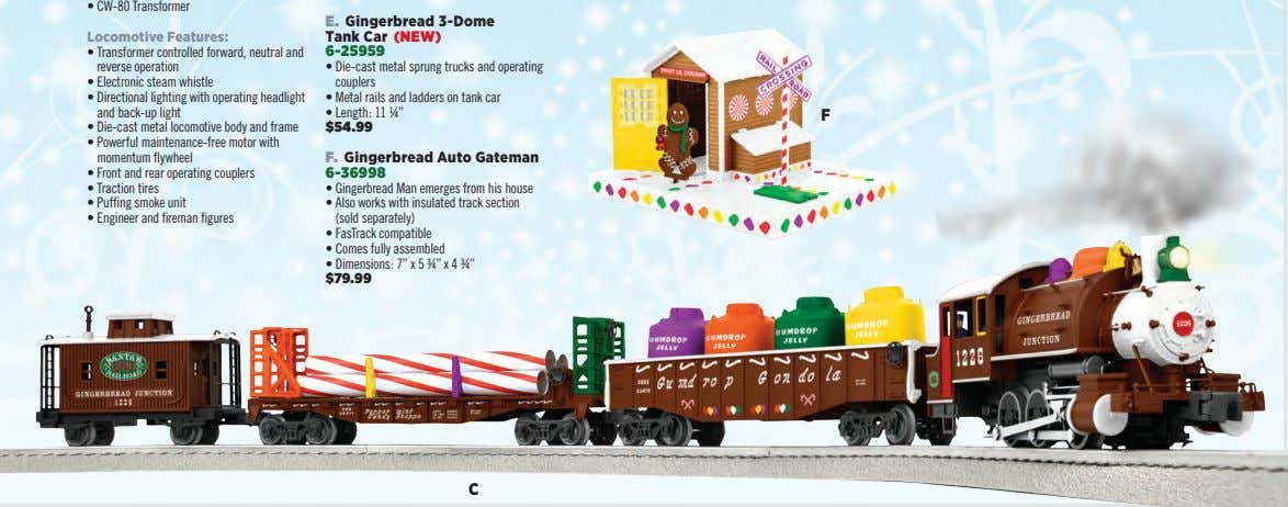 • CW-80 Transformer E. Gingerbread 3-Dome Locomotive Features: Tank Car (NEW) • Transformer controlled forward,