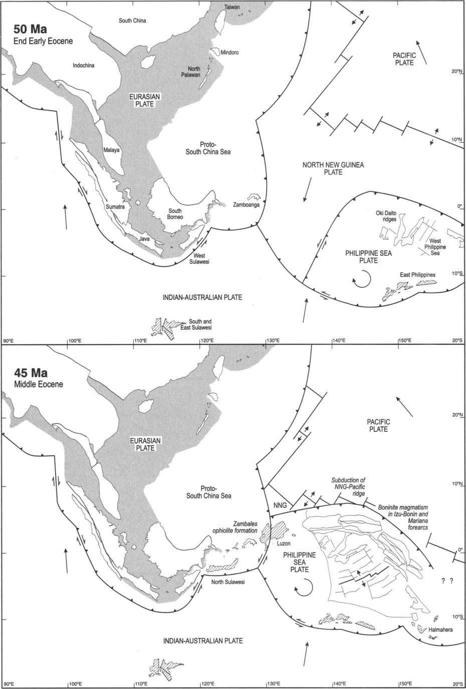 Fig. 2. Reconstructions of the region at 50 and 45 Ma when the Philippine Sea
