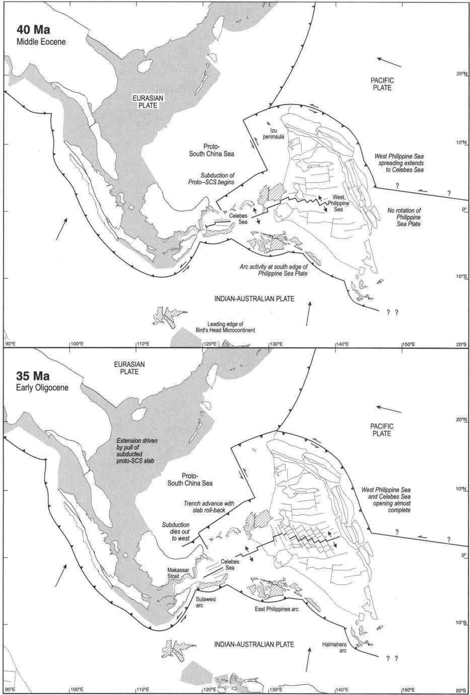 Fig. 3. Reconstructions of the region at 40 and 35 Ma. The Philippine Sea plate