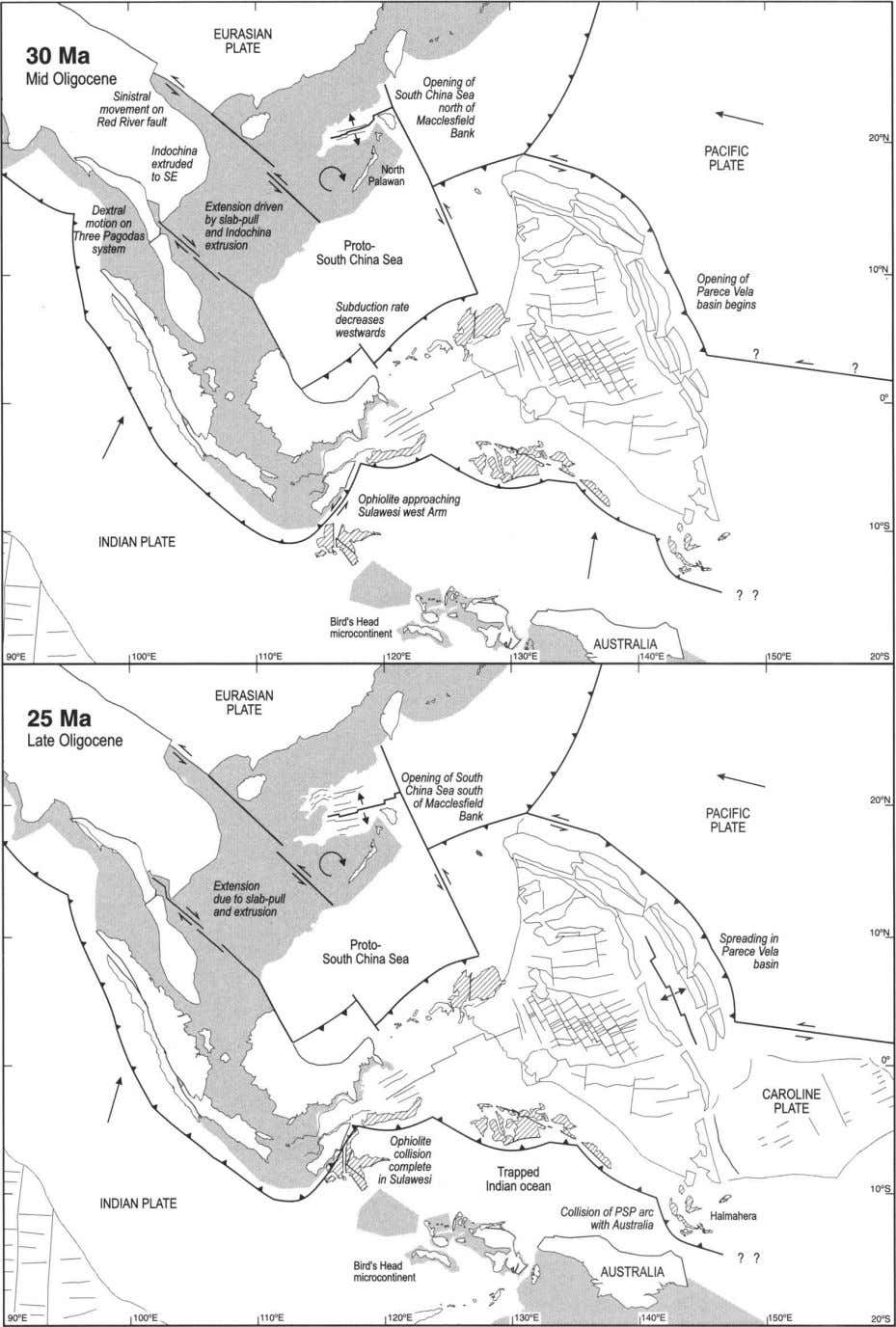 Fig. 4. Reconstructions of the region at 30 and 25 Ma. The South China Sea
