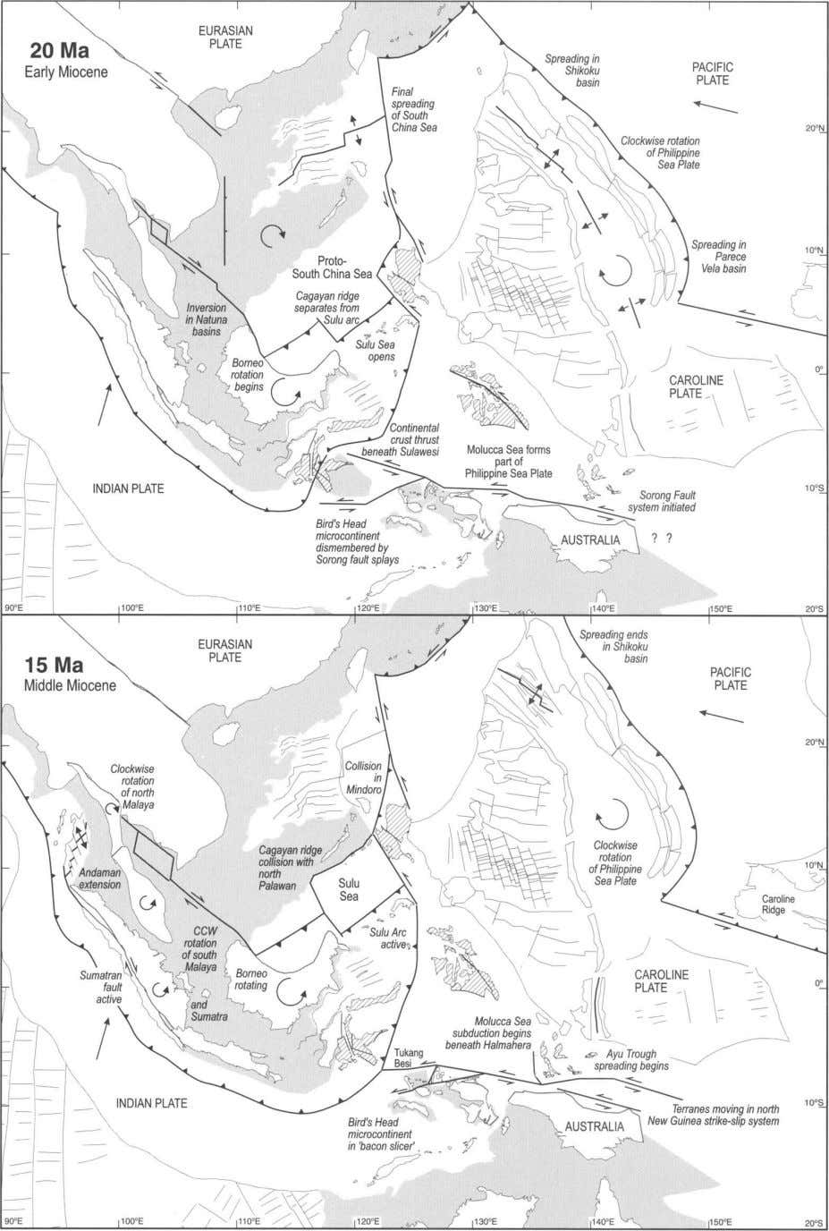 Fig. 5. Reconstructions of the region at 20 and 15 Ma. Borneo was rotating. Renewed