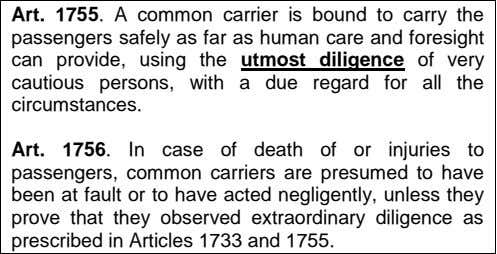 Art. 1755. A common carrier is bound to carry the passengers safely as far as