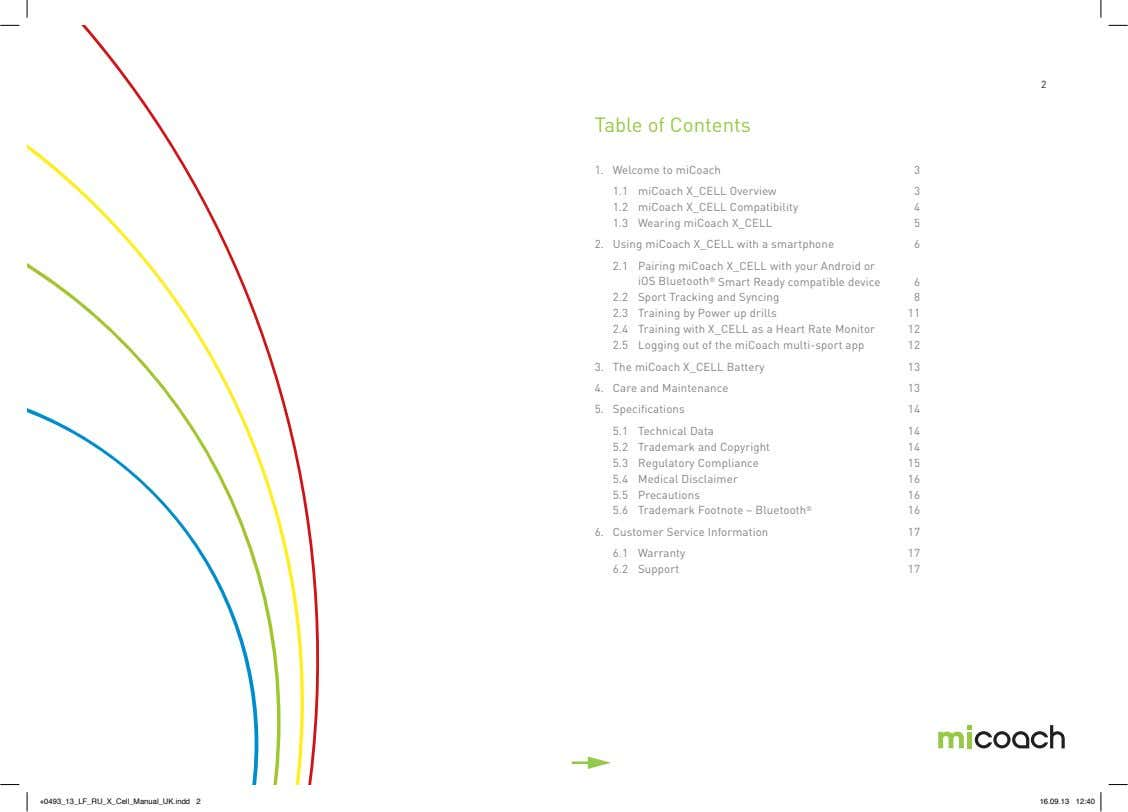 2 Table of Contents 1. Welcome to miCoach 3 1.1 miCoach X_CELL Overview 3 1.2