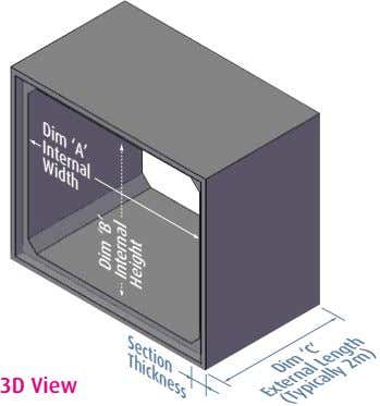 Dim 'A' Internal Width Section Thickness 3D View Dim 'C' Length External (Typically 2m) Dim
