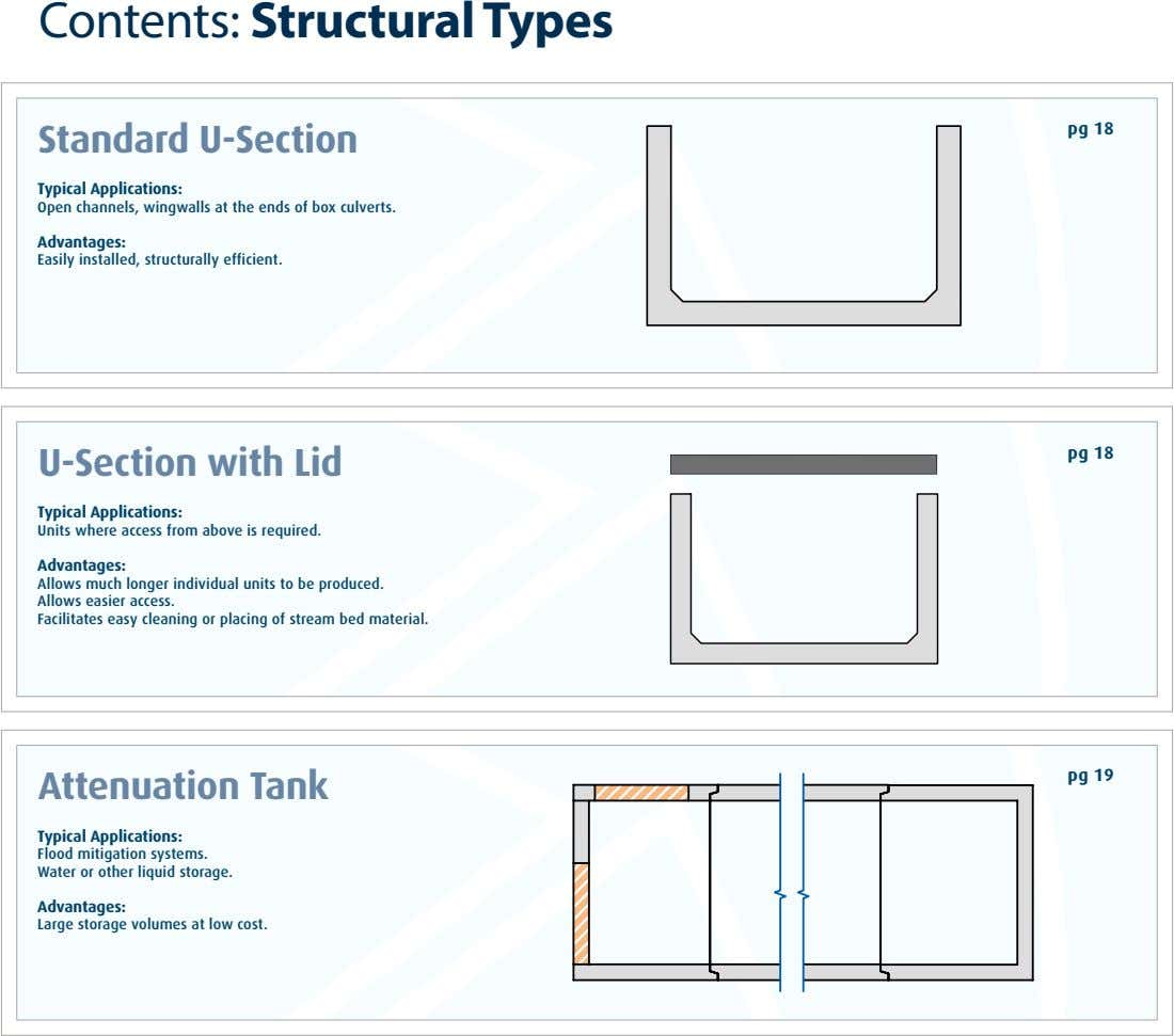 Contents: Structural Types pg 18 Standard U-Section Typical Applications: Open channels, wingwalls at the ends