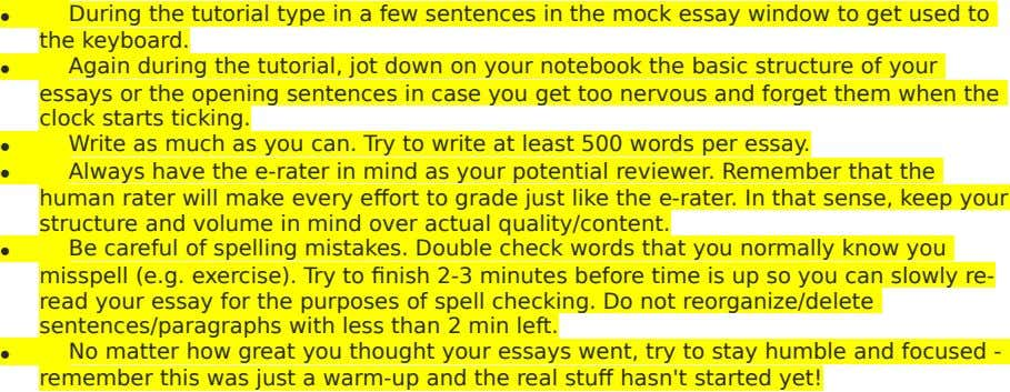  During the tutorial type in a few sentences in the mock essay window to get