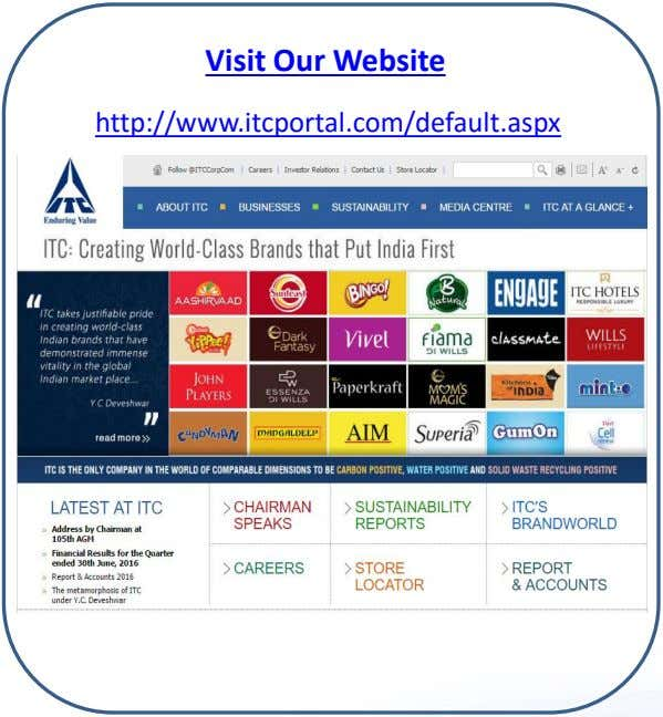 Visit Our Website http://www.itcportal.com/default.aspx