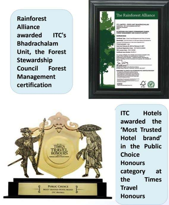 Rainforest Alliance awarded ITC's Bhadrachalam Unit, the Forest Stewardship Council Forest Management