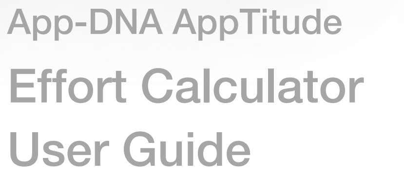 App-DNA AppTitude Effort Calculator User Guide