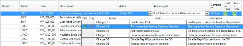 the options available in the Action Detail drop down list. The suggested actions for the issues